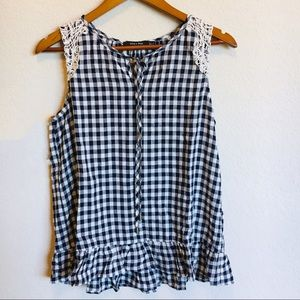 Doe & Rae   Navy and White Gingham Tank with Lace